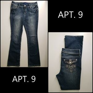 APT. 9 Women Denim Blue Embellished BootCut Jeans
